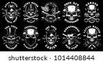 set of black and white skulls...   Shutterstock .eps vector #1014408844
