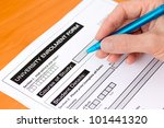 hand completing a university... | Shutterstock . vector #101441320