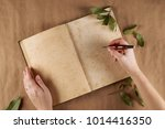 Small photo of Flat look of women's hands, writes poems . Place for text.