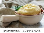 bowl of mashed potatoes with... | Shutterstock . vector #1014417646