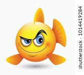 cute curious fish emoticon ... | Shutterstock .eps vector #1014419284