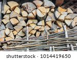 preparation of firewood for the ... | Shutterstock . vector #1014419650