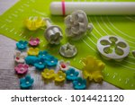 sugar flower and tools for... | Shutterstock . vector #1014421120