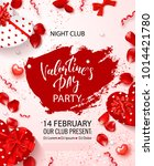 valentine's day party flyer.... | Shutterstock .eps vector #1014421780