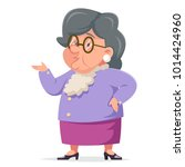 talking wise grandmother old... | Shutterstock .eps vector #1014424960