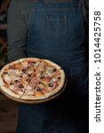 italian pizza on the wooden... | Shutterstock . vector #1014425758