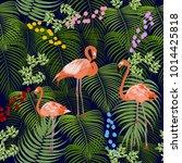 seamless pattern of flamingo ... | Shutterstock .eps vector #1014425818