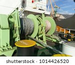 Small photo of Babina with a sea mooring rope. Mooring on the ship.