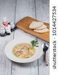 chicken soup top view  | Shutterstock . vector #1014427534