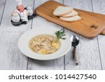 chicken soup top view  | Shutterstock . vector #1014427540