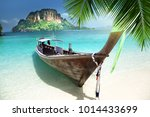 long boat on island in thailand | Shutterstock . vector #1014433699