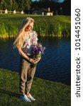 beautiful blonde woman wearing... | Shutterstock . vector #1014451060