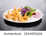 crab wanton served with sweet... | Shutterstock . vector #1014452626