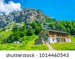 a mountain hut near raisko... | Shutterstock . vector #1014460543