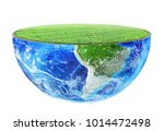 half of planet with green grass ... | Shutterstock . vector #1014472498