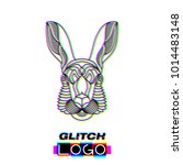 glitch effect hare logo. vector ... | Shutterstock .eps vector #1014483148