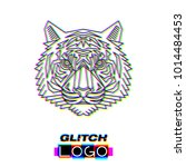 glitch effect tiger logo.... | Shutterstock .eps vector #1014484453