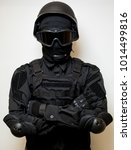 swat in black uniform  face... | Shutterstock . vector #1014499816