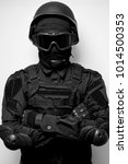 swat in black uniform  face... | Shutterstock . vector #1014500353