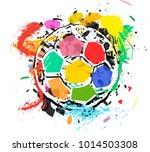 grungy multicolored soccer ball ...   Shutterstock .eps vector #1014503308