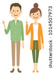 young couple  finger pointing | Shutterstock .eps vector #1014507973