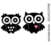 two owls silhouette  in love... | Shutterstock .eps vector #1014511948