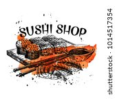 vector hand drawn sushi set.... | Shutterstock .eps vector #1014517354