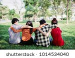 teen group people siting and... | Shutterstock . vector #1014534040