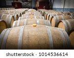 wine barrels in the cellar of... | Shutterstock . vector #1014536614