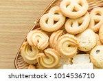 butter cookies in bamboo bowl... | Shutterstock . vector #1014536710