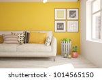 idea of orange minimalist room... | Shutterstock . vector #1014565150