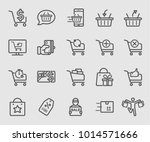 shopping line icon set | Shutterstock .eps vector #1014571666