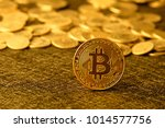 bitcoin logo with coin at... | Shutterstock . vector #1014577756