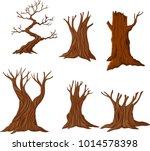 set of cartoon dry trees | Shutterstock .eps vector #1014578398