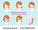 woman with facial skin problem... | Shutterstock .eps vector #1014580240