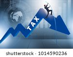 businessman jumping over tax in ...   Shutterstock . vector #1014590236