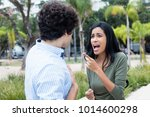arguing young couple with...   Shutterstock . vector #1014600298
