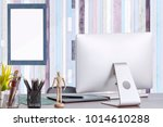 mockup stylish workspace with... | Shutterstock . vector #1014610288