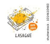 lasagne pasta. italian cuisine. ... | Shutterstock .eps vector #1014610483