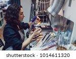 glass blower makes the costume... | Shutterstock . vector #1014611320
