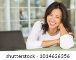 happy woman smiling. | Shutterstock . vector #1014626356