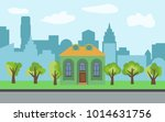 vector city with cartoon house... | Shutterstock .eps vector #1014631756
