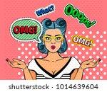 omg pop art girl face. vector...   Shutterstock .eps vector #1014639604