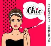 pop art chic girl. retro woman...   Shutterstock .eps vector #1014639673