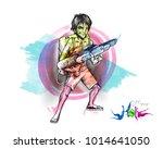 holi celebrations   boy playing ... | Shutterstock .eps vector #1014641050