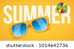 yellow sunglasses and parasol... | Shutterstock .eps vector #1014642736