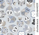cute seamless pattern with owls. | Shutterstock .eps vector #1014644059