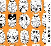 cute seamless pattern with owls. | Shutterstock .eps vector #1014645340