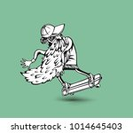 cool hipster skater with... | Shutterstock .eps vector #1014645403