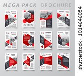 Red color Mega pack Brochure design template flyer set | Shutterstock vector #1014646054
